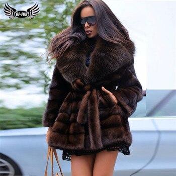 цена Luxury Women Mink Fur Coat With Belt Fashion Winter Overcoats High Quality Genuine Mink Fur Jacket With Big Fox Fur Lapel Collar онлайн в 2017 году