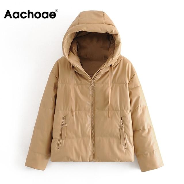AACHOAE – Manteau en similicuir PU pour femme, rembourré, épais et chaud, parka à manches longues, 2020, hiver, veste à capuche, avec fermeture éclaire, hauts d'extérieur 6