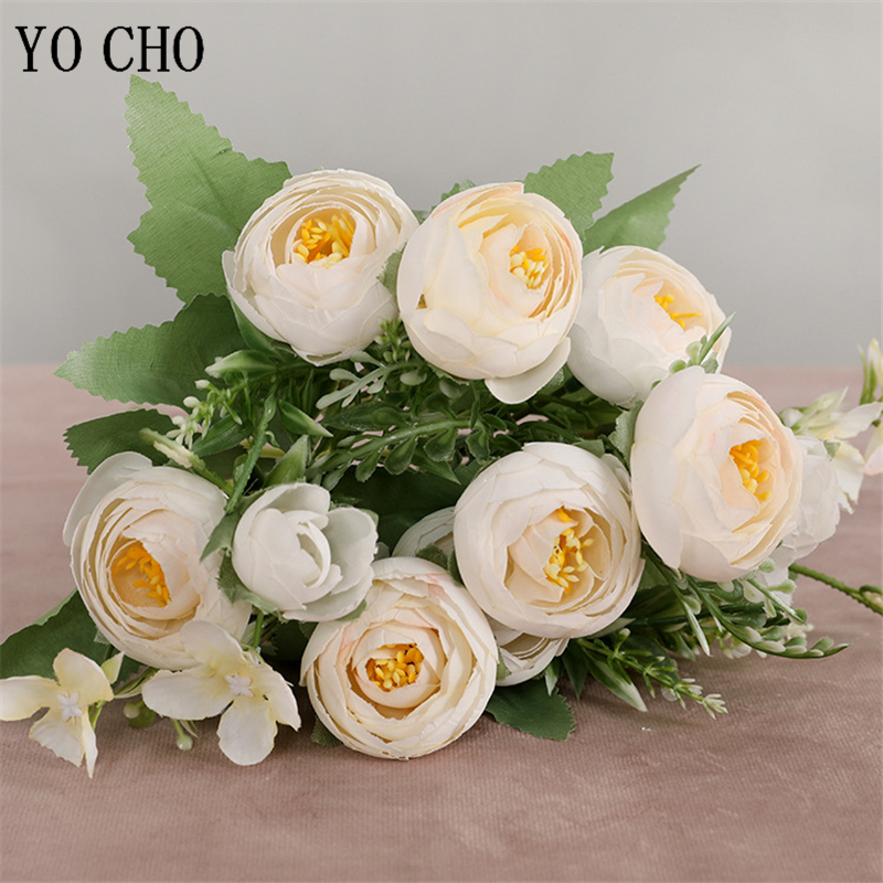 YO CHO DIY Wedding Bridesmaid Mini Bouquet Artificial Flower 10 Head Silk Rose Bunch Flower Arrangement Home Wedding Party Decor
