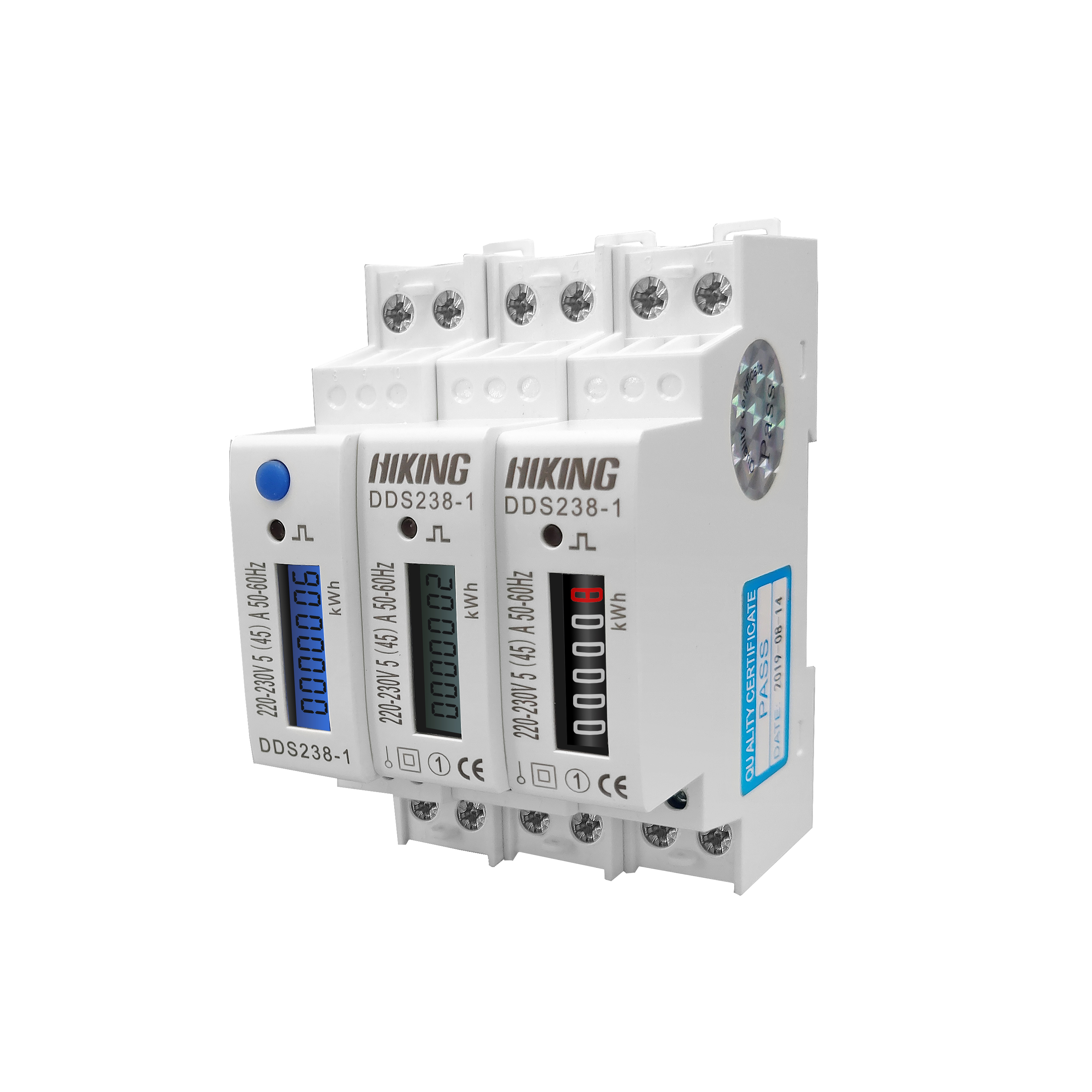 45A 220V 230V 50HZ 60HZ LCD display Single phase Din rail KWH Watt hour din-rail blue backlight energy meter