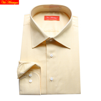 custom tailor made Men's bespoke dress shirts business formal wedding blouse bespoke blouse 100% cotton light yellow free ship