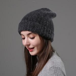 Image 4 - חדש פשוט ארנב פרווה כפת כובע לנשים חורף Skullies חם צמר כובע Gorros נשי כובע נשים סרוג חורף כובע