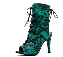 цены Snake Skin Ankle Boots For Women Lace Up Open Toe Cut Out Stiletto High Heels Night Club Street Shoes Sexy Print Heel 9.5 cm