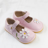 MERABLLE Girls Shoes for Kids Mary Jane with Flower Decor Baby Walkers With Sounds Removable Squeakers