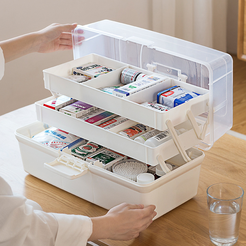 Transparent Portable Household Multi-layer Storage Container First Aid Kit Plastic Medical Box