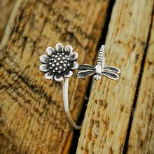 Vintage Metal Thin Wedding Ring Charm Female Flower Dragonfly Open Ring Classic Silver Color Engagement Rings For Women Jewelry