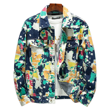 Men's Forest Camouflage Print Denim Jacket Loose Turn Down Collar Cargo Jean Coat Pockets Outerwear