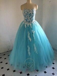 Image 3 - במלאי מתוקה כחול Quinceanera שמלות כדור כותנות עם אפליקציות תחרה עד מתוקה 16 שמלות Vestidos דה 15 שנים המפלגה שמלות