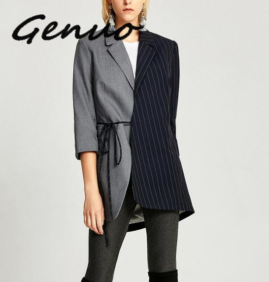 Genuo 2019 New Arrival Black Grey Panelled Striped Blazer Lacing Long Sleeve Patchwork Casual Female Blazers