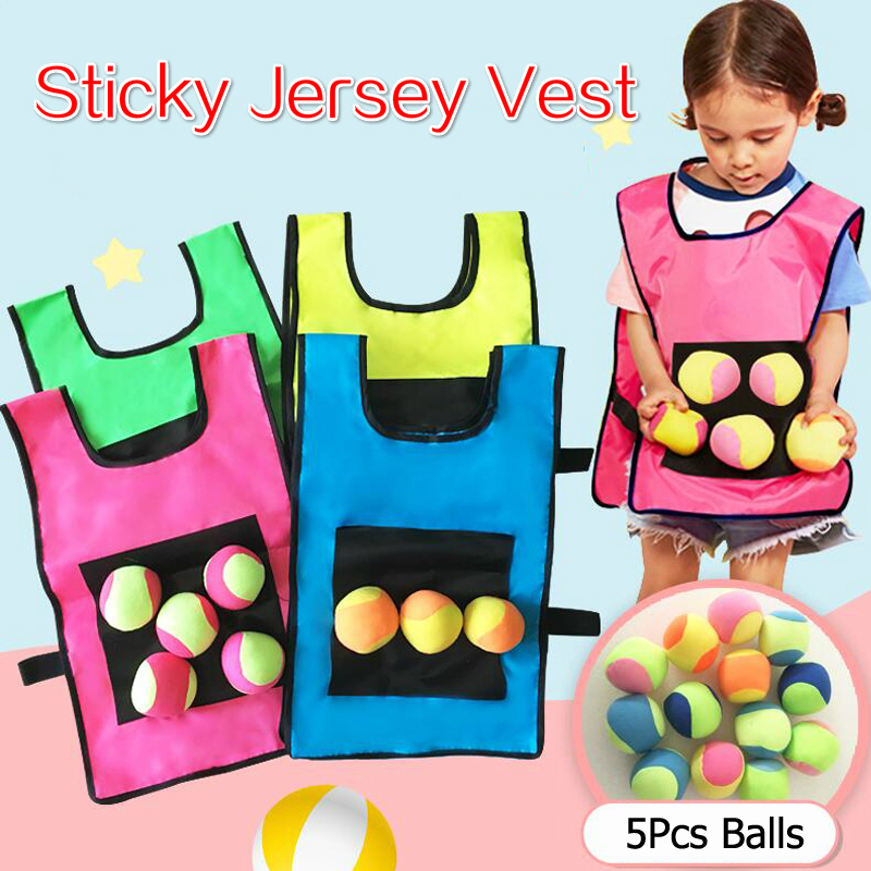 Kids Outdoor Sport Game Props Vest Sticky Jersey Vest Game Vest Waistcoat With Sticky Ball Throwing Toys For Children Sports Toy