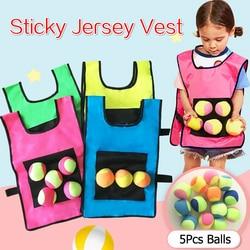 Chaleco adhesivo para deportes al aire libre para niños, chaleco con pelota adhesiva, juguete deportivo