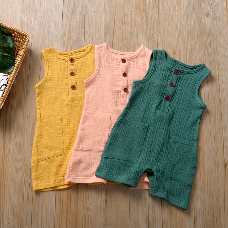 Newborn Baby Boy & Girls Rompers Baby Home Wear Cotton Summer Sleeveless O-neck Pure Color 6m-24m 2020 New Baby Summer Clothing