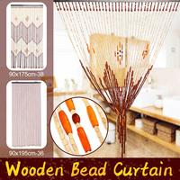 90x175cm 38 Wave/90x195cm 36 Line Wooden Beads Door Curtain Handmade Fly Screen Wooden Blinds For Home Porch Room Divider Decor