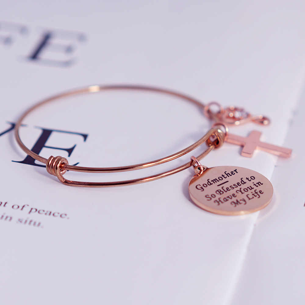 Rose Gold Stainless Steel Bangle Expandable Wire Bangle Women Jewelry Godmother So Blessed to Have You in My Life Charm Cross Charms Bracelet Bangle God Mother Gifts Bijoux