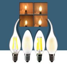 E14 LED Candle Light Bulb 2W 4W 6W Dimmable Flame Lamp COB Warm white 220V Vintage Home chandelier bulb цена