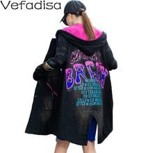 Women Vest Jacket Spring Coat Hooded Loose Black Autumn Sleeveless Denim Letter QYF4076