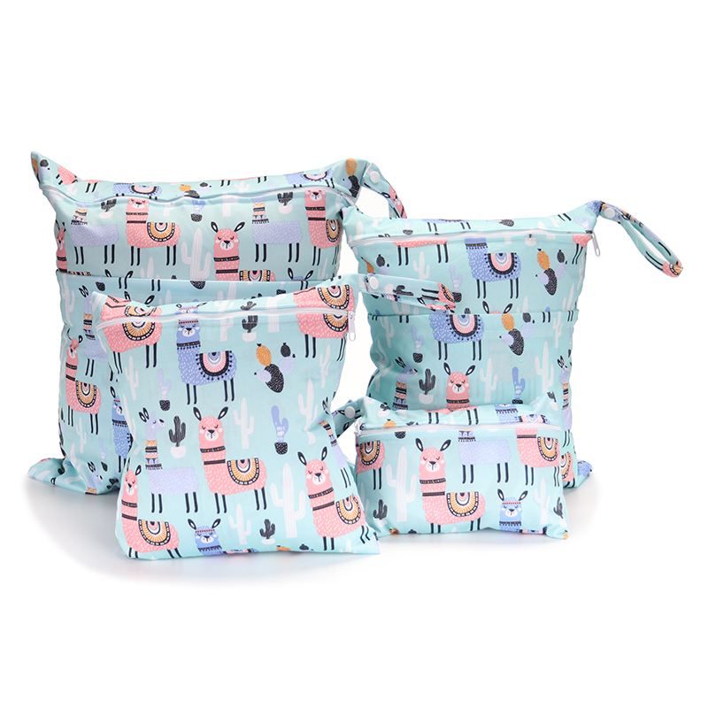 4 Piece Suit Travel PUL Wet Bags Baby Waterproof Cloth Diaper Bag Single Zipper Print Reusable Baby Nappy Wet Dry Bags Wetbags
