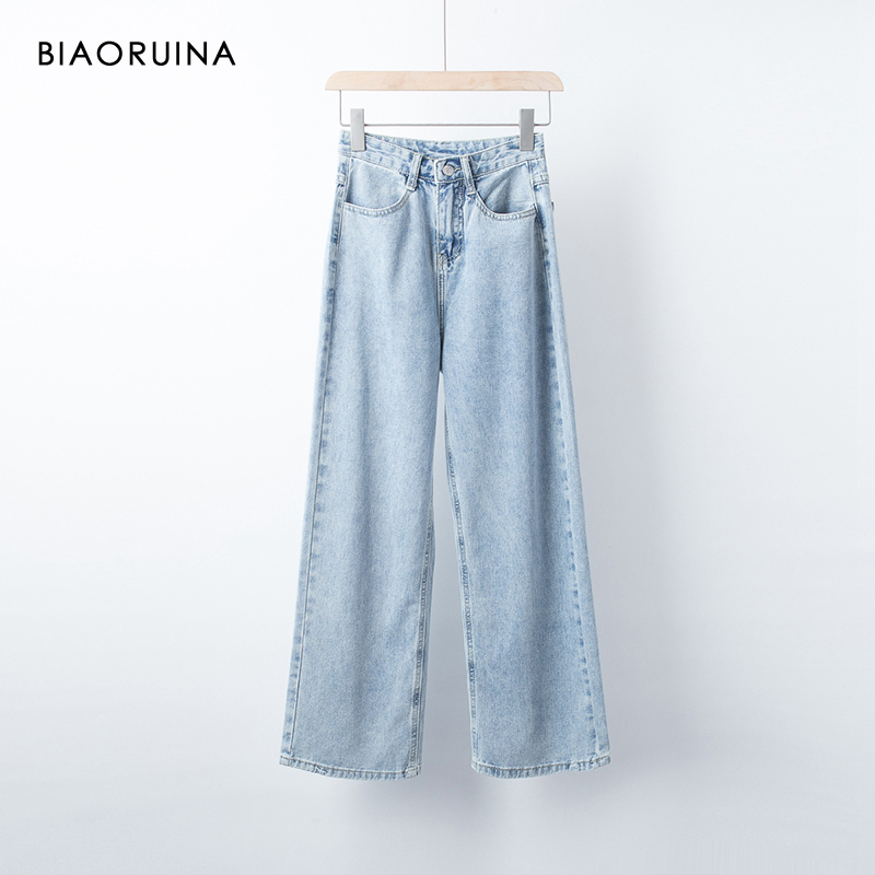 BIAORUINA Women's Light Blue Washed Fashion Denim Jeans Female Loose Wide Leg High Waist Jeans Bleached Casual Jeans 2019 Autumn