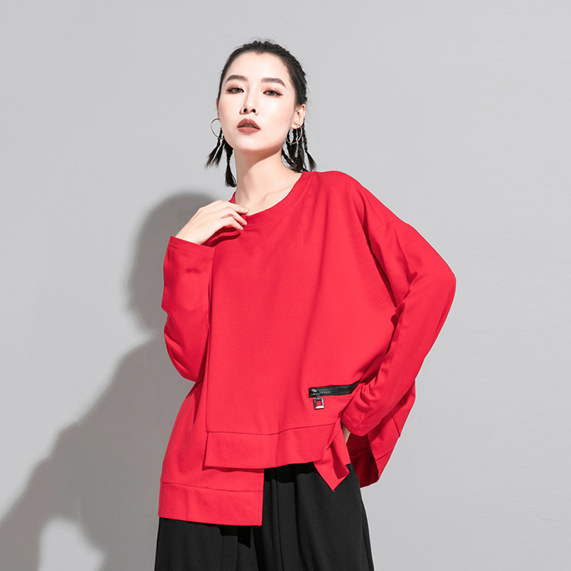 [EAM] Women Red Irregular Split Joint Big Size T-shirt New Round Neck Long Sleeve  Fashion Tide  Spring Autumn 2020 1DA605 5