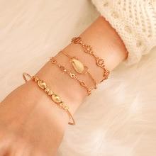 Gold Color Geometric Beads Bracelets Fashion Shell Pendant Hollowed Round Square Strand Bracelet Bangle for Women Boho Jewelry chic hollowed geometric cuff bracelet for women
