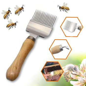 Powieść stal nierdzewna Bee Hive Uncapping miód widelec skrobak łopata grzebień Uncapping widelec narzędzie pszczelarskie drewniany uchwyt nóż tanie i dobre opinie CN (pochodzenie)