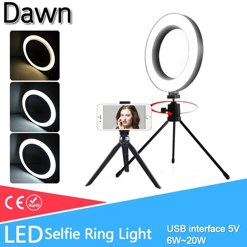 LED Selfie Stick Ring Light 10inch USB 5V 10W Dimmable LED Ring Lamp Photo Video Camera Phone Light For Live YouTube Fill Light