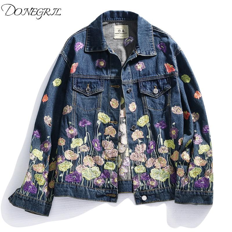 Новинка весна осень 2020, джинсовая куртка с цветочной вышивкой, женская уличная Весенняя винтажная короткая джинсовая куртка, пальто, женская верхняя одежда Куртки      АлиЭкспресс