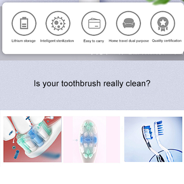 Portable Toothbrush Disinfection Machine UV Toothbrush Disinfection Box Electric Toothbrush Cap