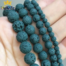 Natural Lava Hematite Stone Beads Malachite Green Volcanic Rock Round Loose Beads For Jewelry Making DIY Bracelet 15''4 6 8 10mm