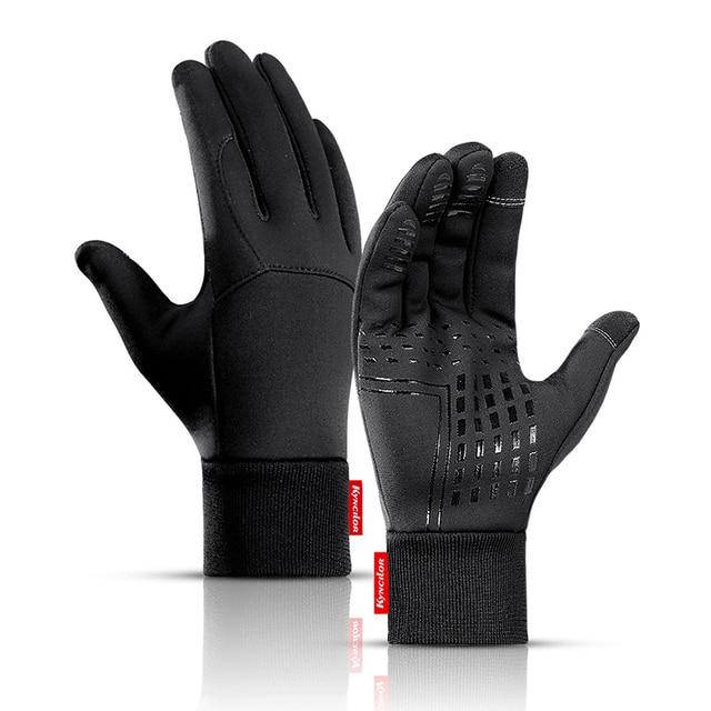 Inverno das mulheres dos homens luvas de ciclismo dedo cheio tela sensível ao toque antiderrapante impermeável à prova vento quente velo térmico bicicleta luvas 1