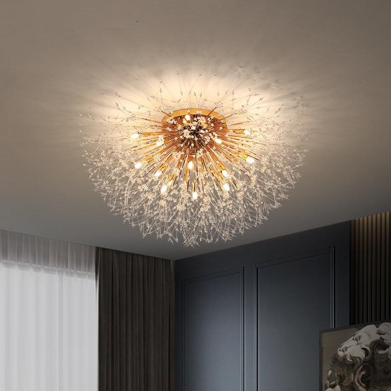Modern Dandelion Crystal Ceiling Light, Contemporary Living Room Ceiling Lights