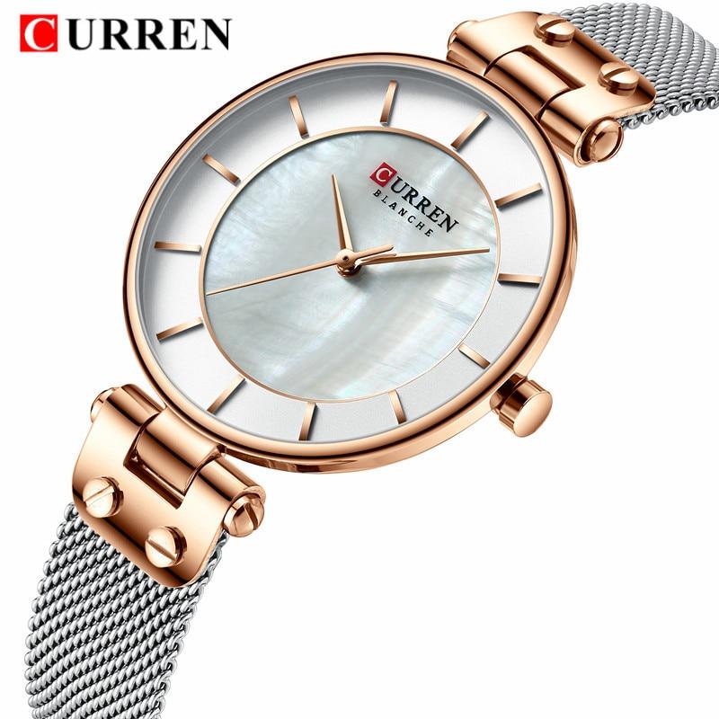 CURREN 9056 Beautiful Design Watches Women Fashion Casual Steel Mesh Wristwatch Ladies Watch Female Clock Women's Quartz Watch