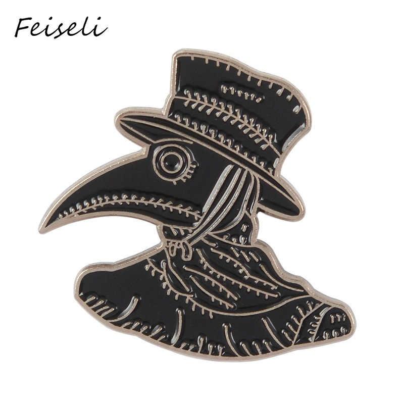 Feiseli Kreatif Vintage Gagak Hitam Bros untuk Wanita Topi Hitam Kartun Burung Denim Kerah Korsase Lapel Pin Dekorasi Lencana Perhiasan