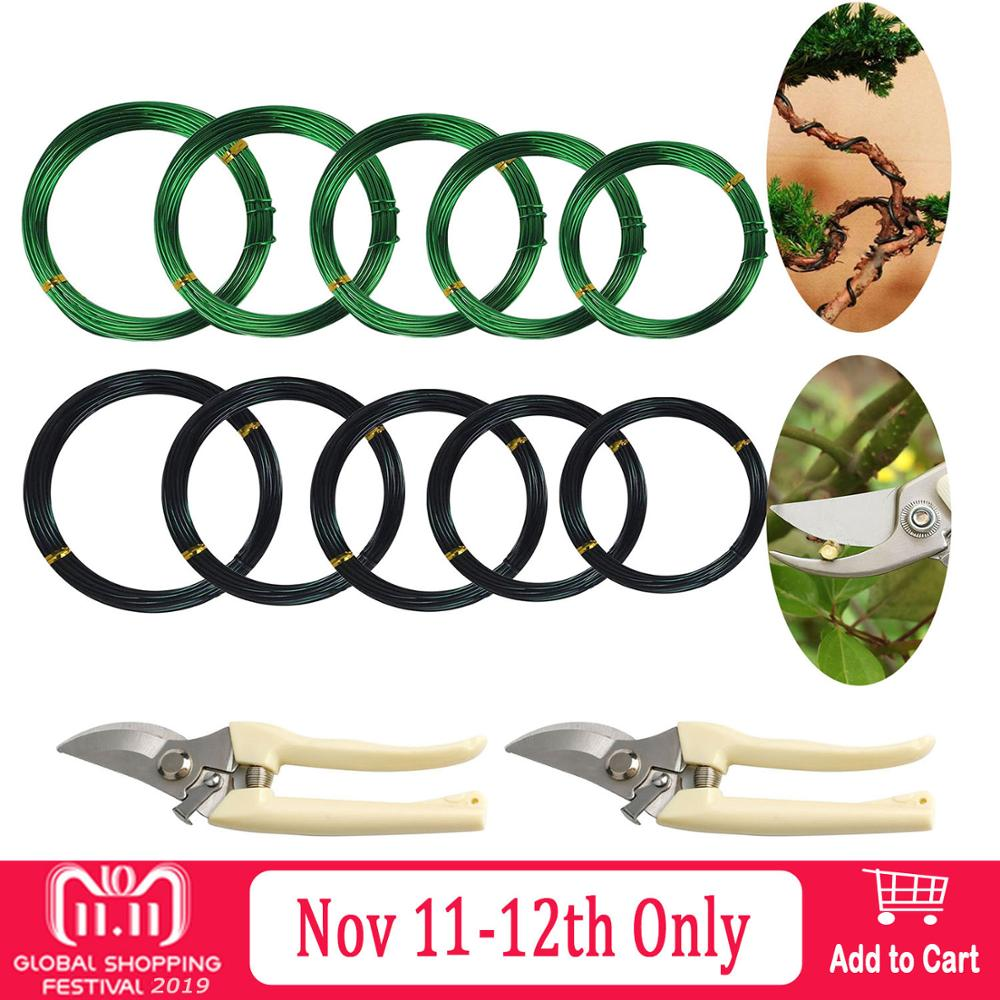 5 Roll 5m Aluminum Tree Training Wires With Garden Scissors For Bonsai Beginners Trainers Artists 1mm/1.5mm/2mm/2.5mm/3mm