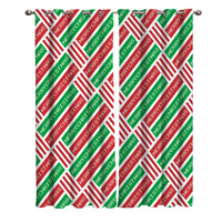 Christmas Pixel Red Green Merry Christmas Pattern Blackout Window Curtains Living Room Curtain Kitchen Blackout Curtains