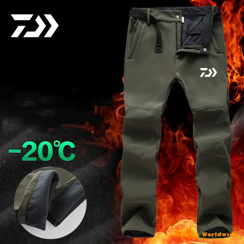 DAIWA Fishing Waterproof Pants Men Sport Winter Thick Warm Fleece Fishing Trousers Male Windbreaker Sweatpants DAWA Clothing