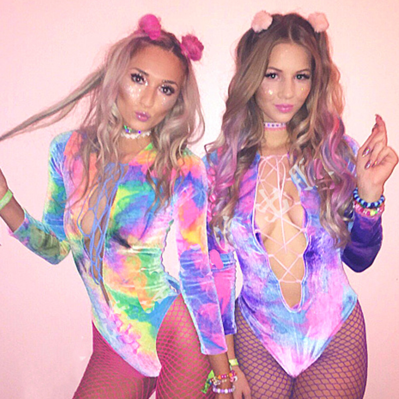 Stage Costumes For Singers Tie-Dye Colorful Sexy Jumpsuit Rave Clothes Party Outfit Women Dj Ds Bodysuit Pold Dance Wear DN4782