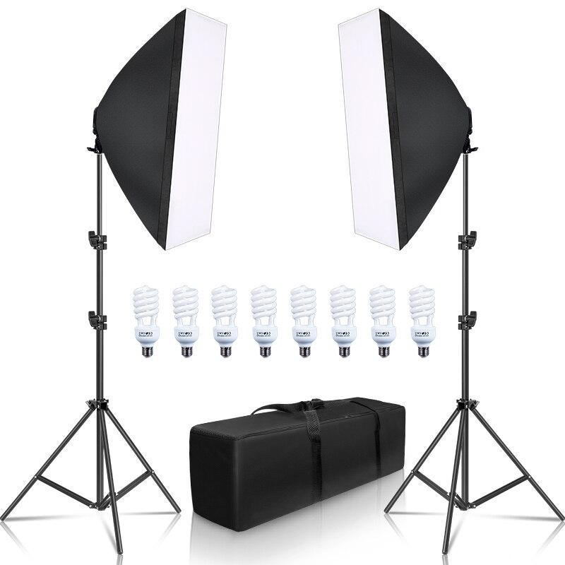 التصوير الفوتوغرافي سوفت بوكس صندوق الضوء عدة 8 قطعة E27 LED صور استوديو كاميرا معدات الإضاءة 2 سوفت بوكس 2 ضوء الوقوف مع حقيبة حمل