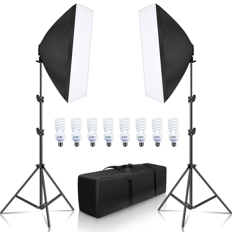 Photographie, Kit de boîte à lumière, boîte à lumière 8 pièces, E27, équipement d'éclairage pour caméra de Studio Photo, 2 boîte à lumière, 2 support léger avec sac de transport