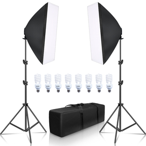 Photography Softbox Lightbox Kit 8 PCS E27 LED Photo Studio Camera Lighting Equipment 2 Softbox 2 Light Stand with Carry Bag(China)