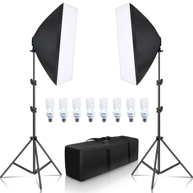 Photography Softbox Lightbox Kit 8 PCS E27 LED Photo Studio Camera Lighting Equipment 2 Softbox 2 Light Stand with Carry Bag title=