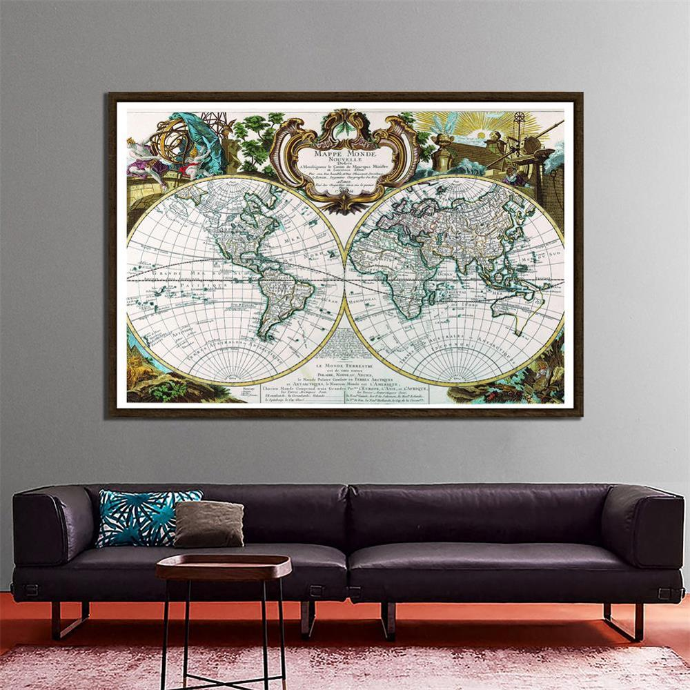 150x100cm Mappe Monde Nouvelle Medieval French Map Office Decorative Map Non-woven Waterproof Collapsible World Map