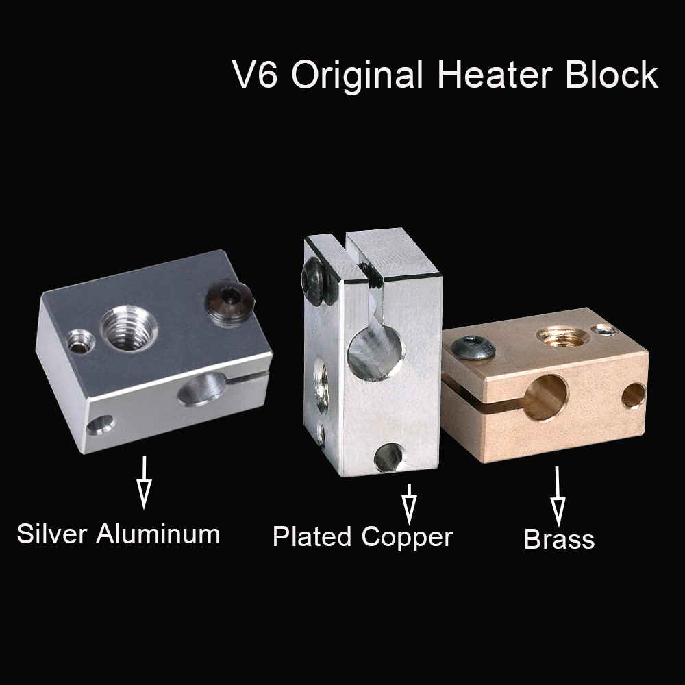 V6 Plated Copper Heater Block V6 Original Aluminum Block For E3D V6 Hotend Extruder V6 Nozzle Silicone Sock 3D Printer Parts