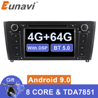 Eunavi Android 9 Car dvd Multimedia radio player For 1 Series BMW E81 E82 2004 2012 gps navigation 1024*600 touch screen DSP USB