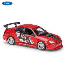 WELLY 1:24  Subaru Impreza simulation alloy car model crafts decoration collection toy tools gift