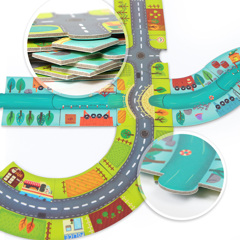 MiDeer Puzzles 38PCS Jigsaw Assembling Puzzles Toys Kids Games Educational Toys Construction Traffic Circle for 3-6Y Children 4