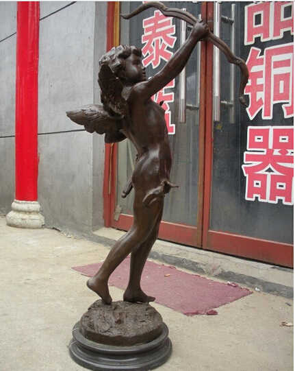 --- 413 + + + énorme chine bronze marbre statue grecque cupidon amour ange Art sculpture