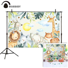Allenjoy Jungle Backgrounds Birthday Party Wild Zoo Lions Elephents Photo Backdrop Baby Showers Photophone Photobooth Prop Decor