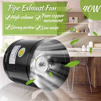 6 Inch Round Duct Exhaust Fan Air Ventilator 220V Metal Pipe Ventilation Mini Extractor Bathroom Toilet Kitchen Wall Duct Fan
