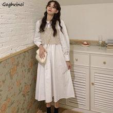 Robe trapèze à manches longues pour femmes, col rond, couleur unie, taille haute, manches bouffantes, mi-mollet, Style coréen, nouvelle mode automne Chic Ins